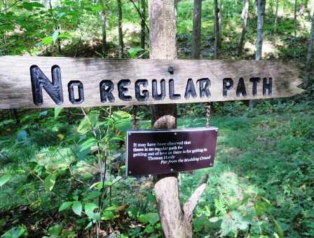path sign at cabin